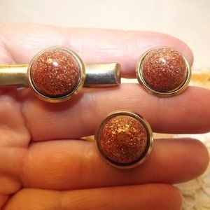 Other - Copper Glitter Dome Cuff Links and Tie Pin